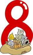 Number eight and 8 cats Stock Illustration
