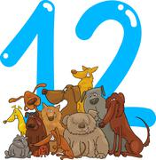 Number twelve and 12 dogs Stock Illustration