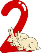Stock Illustration of number two and 2 rabbits