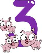 Stock Illustration of number three and 3 pigs