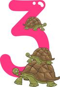 number three and 3 turtles - stock illustration