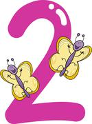 Stock Illustration of number two and 2 butterflies