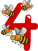 number four and 4 bees - stock illustration