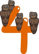 number four and 4 owls - stock illustration
