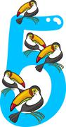 Stock Illustration of number five and 5 toucans