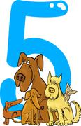 Number five and 5 dogs Stock Illustration