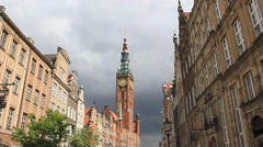 Gdansk, Poland. The town hall and the Long Market in the old town. Stock Footage