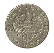 Old Austrian 10 Schilling coin. Revers. 1975. Stock Photos