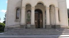 Romania monestery church door cx Stock Footage