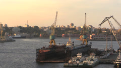Romania Constanta docks and city cx Stock Footage