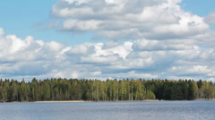 Beauty at big lake with forest in horizon, Russia Stock Footage