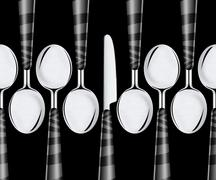 spoons and knife - stock photo