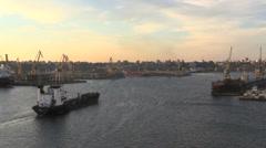 Romania Constanta ship moving into harbor cx Stock Footage