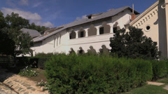 Romania monestery structure with gallery cx Stock Footage