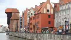 Gdansk, Poland. View on the city from the Motlawa river. 3 Stock Footage