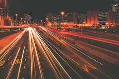 Late night traffic in motion. long exposure traffic on chicago highway. chica Stock Photos