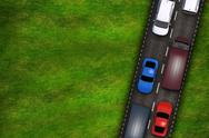 Stock Illustration of highway and cars on the grassy field illustration. copy space on grassy space