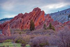 scenic colorado rock formation. red sandstone formation in roxborough state p - stock photo