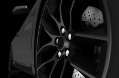 Black and white illustration of alloy wheel and sports car. 3d illustration. Stock Illustration