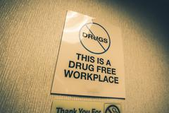 drug free workplace office sign. drugs prohibited. - stock photo