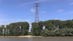 Romania Danube delta transmission lines cx - stock footage