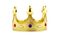 Gold crown isolated on the white Stock Photos