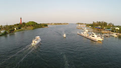 Aerial of a busy inlet in south Florida in the afternoon. Stock Footage