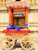 Bbeautiful ancient caravan sitting in Mysore Palace grounds - stock photo