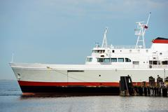 Ferries vessel in harbor. partial horizontal photography. marine photo collec Stock Photos