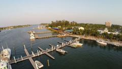 Waterfront Restaurant and Marina in South Florida Stock Footage