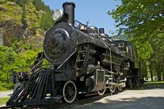 Old western steam locomotive - historical railroad locomotive exposition. was Stock Photos