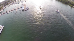 Aerial of Boats Passing in a South Florida Inlet Stock Footage