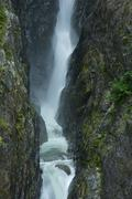waterfalls gorge. high waterfalls in north cascades national park. vertical p - stock photo