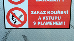 Safety warnings on the fuse box (Czech language) Stock Footage