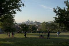 Timelapse of Manhattan skyline as seen from Sunset Park Stock Footage