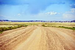 country gravel road in south dakota state - u.s.a. south dakota photo collect - stock photo