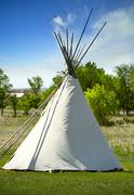 south dakota lakota tribe wigwam. a wigwam is a domed room dwelling used by c - stock photo