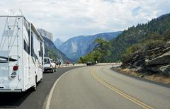 visiting yosemite valley by rv. yosemite national park south-west viewpoint. - stock photo