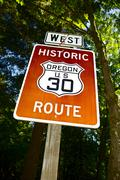 Historic oregon route us 30 traffic sign. oregon, usa. signage photo collecti Stock Photos