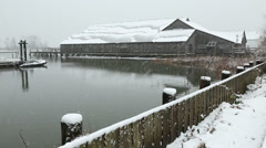 Britannia Heritage Shipyard Snow, Steveston Stock Footage