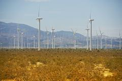 Antelope valley wind turbines plantation. mojave, california, usa. alternativ Stock Photos