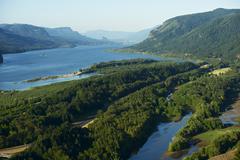 Columbia river gorge summer panorama - columbia river, oregon, usa. horizonta Stock Photos