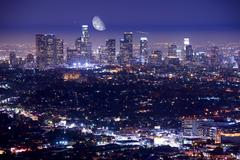downtown los angeles at night. los angeles, california, u.s.a. how summer nig - stock photo