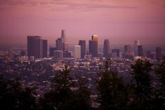 los angeles, california, usa. los angeles skyline in sunset. american cities - stock photo