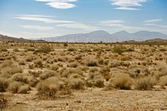 mojave desert us14 hwy - mojave desert and wind turbines plantation. mojave, - stock photo