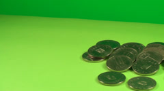Pile Of Coins On A Green Screen, Currency, Chroma, Economy, Money, Pan Shot - stock footage