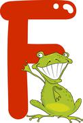 F for frog - stock illustration