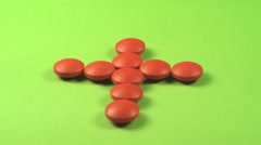 A Cross Made Out Of Red Pills On A Green Screen, Medical, Chroma, Drug Stock Footage