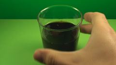 Taking A Sip Of A Glass Full With Soda, Chroma, Key, Drink, Fizzy, Point Of View Stock Footage