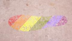 Leaving Mark Footstep LGBT Pride Stock Footage